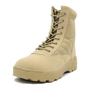 Randonnée Chaussures Hommes Imperméable en Cuir Léger Bottes De L'armée Desert Bottes Glissière Latérale Bottes D'équitation Bottes en Cuir,Yellow-44