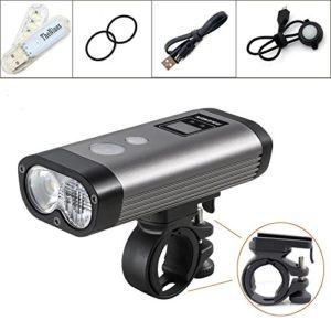 Ravemen PR1200 Phare de vélo Super lumineux 1200 lumens Micro USB rechargeable Lumière avant de vélo de montagne,2 * phare CREE XM-L2 LED IPX8 étanche cycle universel, Facile à monter