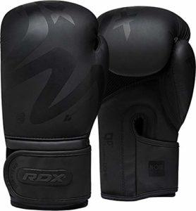 RDX Gants de Boxe Muay Thaï Kick Boxing | Mat Noir Convexe Peau Cuir Gant pour Sparring | Sac Frappe Entraînement Mitaines Compétition Combat Boxing Gloves