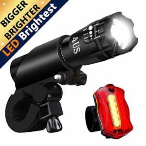 REHKITTZ Lampe Velo Eclairage Velo LED Lumière Vélo Lumiere Phare Velo et Arrière 5+7 Multi Modes Batterie Facile à Monter et à Libération Rapide d'éclairage 2 en 1 Kit pour Cycliste Camping Sport