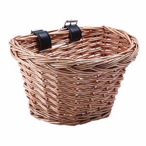 Rétro, fait à la main, panier avant de vélo en osier, panier avant de vélo en osier traditionnel avec sangles en cuir, panier de vélo artisanal folklorique tissé à la main