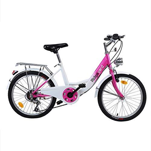 Ridgeyard 20 Pouces 6 Vitesses Vélo Enfant garçons Filles vélo pour Enfant de 12 à 16 Ans Children Bicycle(Rose + Blanc)