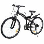 Ridgeyard 26″ 7 Vitesses Folding Bike Pliable vélos Vélo de Montagne Shimano (Noir)