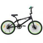 Ridgeyard Vélo BMX Freestyle 20″ Rotor System 360°4 chevilles BMX Bike (Noir + Vert)