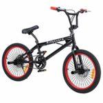 Ridgeyard Vélo BMX Freestyle 20″ Rotor System 360°4 chevilles BMX Bike (Noir + Rouge)