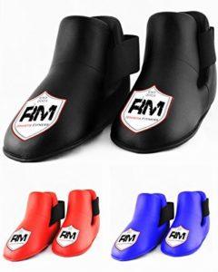 RingMasterUK Semi/Full Contact Boots Foot Taekwondo Kickboxing Arts Martiaux (Noir, Taille M)