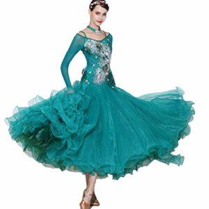 Robe de Concours de Danse de Salon Professionnel Valse pour Dames Fait Main Cristal/Strass Étendue Tango Costume Salsa Performance Jupe Justaucorps,Green,M
