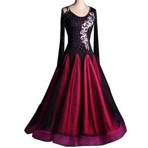 Robes de Danse de Salon pour Femmes Costumes de Performance Tango Robes De Flamenco À Manches Longues Danse Pratique Robes de Compétition Strass Moderne Valse, S