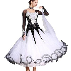 Robes de Danse Modernes à la Main Big Swing Jupe Performance Valse Costume National de Danse pour Femmes Vêtements de Danse de Salon, S