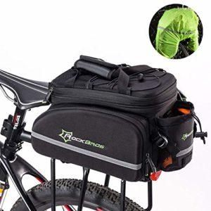 ROCKBROS Sacoche Vélo de Porte-Bagages Arrière Étanche 10-35L, Cyclisme Sac de Rangement de Vélo Route Pliable Portable avec Housse de Pluie Noir Vert