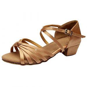 Routinfly Chaussures de Danse de Danse Latine, Boucle de Ceinture croisée à Talon Bas pour Femme, Chaussures de Danse d'exercice, Chaussures Individuelles M Kaki