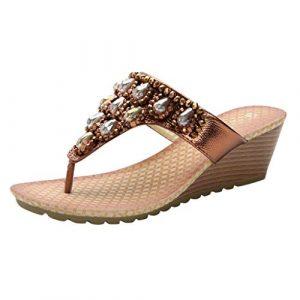 Routinfly Chaussures de Talon Basses d'été avec Clip en Strass pour Orteils M Marron
