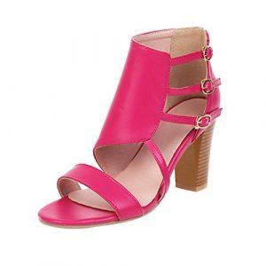 Routinfly Sandales Mode avec Boucle, Mode pour Femme Pure Colors Tacones Hautes Chaussures Boucle Courroie Tacones épaisses Sandales de Loisirs Mode d'été M Rouge