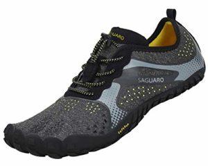 SAGUARO Chaussures de Trail Running Homme Femme Chaussures Minimalistes Chaussures de Sport Outdoor & Indoor Gym Fitness Randonnée Escalade Marche Barefoot Shoes Chaussures Aquatiques, Noir, 43 EU
