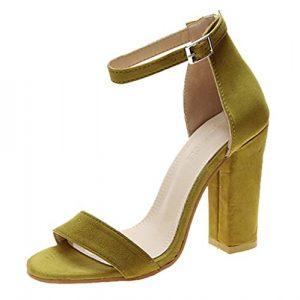 Sandales à Bout Ouvert pour Femme avec Boucle d'été, Talons carrés, Talons Hauts, Sandales de Bouche de Poisson 35-43 M Citronier