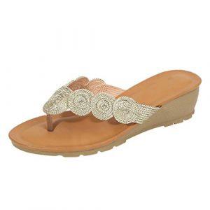 Sandales d'été à Bout Ouvert, Chaussures de fête, Chaussures de Femme, Plage de Pointe, bobines de Queue, Talons Chevilles, Chaussures Confortables à la Mode M Or