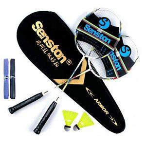 Senston Graphite Shaft Raquette de Badminton, Badminton Racket Set, comme Le Badminton Sac, Lot DE 2,2 Grip, 2 Volant
