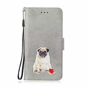 SEYCPHE Coque pour Huawei P30,Flip Coque Premium avec Emplacement de Cartes 360°Housse étui Antichoc Conçu pour Huawei P30 Smartphone.Gris
