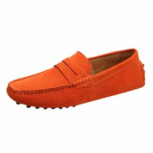 SHOBDW ÉTé New Chaussures Slip-on Peas pour Hommes en Daim Sauvage Chaussures Confortables, Respirantes Et DéContractéEs(Orange,48)