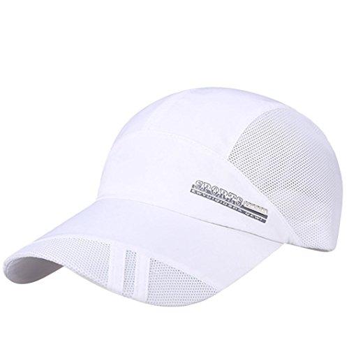 showsing Unisexe en Maille à Séchage Rapide Chapeau Pliable Chapeau de Soleil Crème Solaire Extérieure Casquette de Baseball M Blanc
