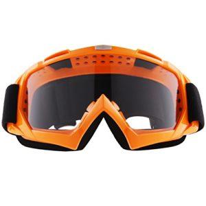 Sijueam Lunettes de Protection de Yeux Visage Masque pour sport de plein air Anti-UV coupe-vent Anti-sable Anti-poussière pour Activités Extérieures vélo Moto Cross VTT Ski Snowboard Cyclisme Goggles – Cadre Orange, lentille claire