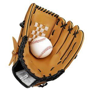 SKL Gant de baseball Gants de frappeurs sportifs Le gant du receveur avec cuir PU de baseball pour enfants adultes jeunes 10,5 pouces