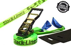 Slack-liners Ensemble de slackline 4 pièces avec sangle à cliquet Vert fluo Largeur 50 mm Longueur 25 m