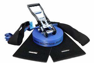 Slack-Liners Slackline Set Complet de 4 pièces Bleu 50 mm x 20 m