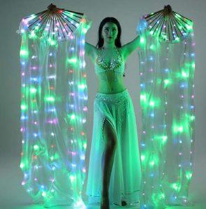 SMACO 1 Paire (Gauche + Droite) Femmes Real Silk Belly Dance Fan Veil, Fan de Soie coloré Light Dance Props Longueur 180Cm Largeur 90Cm,Vert