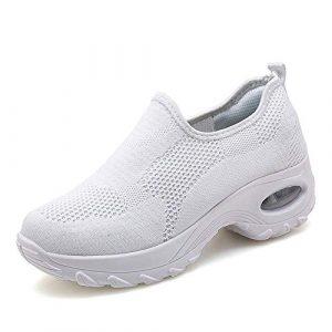 Sneakers respirant slip-on chaussures pour femmes découpe-coussin d'air mesh antidérapant dames filles danse moderne chaussures faciles semelles épaisses marche mère chaussures grande taille,Blanc,42