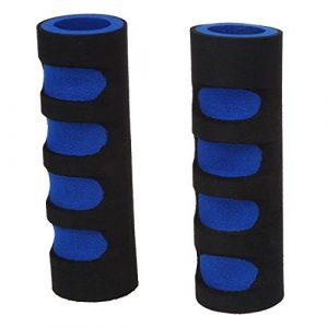 SODIAL(R) 2 x Etuis antiderapants de guidons de velo Noir plus bleu + Bande de nylon