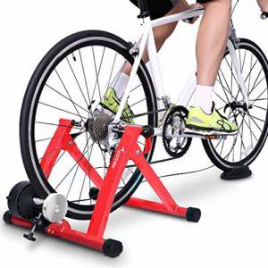 Sportneer Support d'entrainement pour vélo – Support magnétique pour Entrainement de vélo en Acier avec Roue réductrice de Bruit (Rouge)