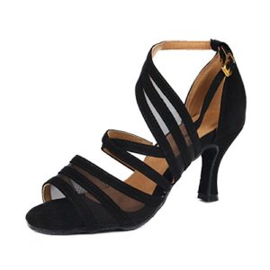 Syrads Chaussures de Danse Latine pour Femmes Chaussures de Danse Tango Valse Samba Salsa Sandale Talon Haut, Noir-7.5cm, 39 EU
