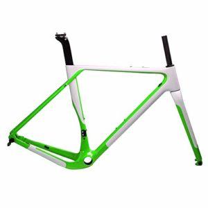 T1000 Carbon Gravel Bike Cadre Carbone Cyclocross Cadre vélo BB386 Frein à Disque Vélo de Route Max Frameset pneus 700 * 40C,Vert,52cm UD Matte