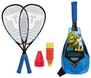 Talbot-Torro Speed-Badminton Set SPEED 6600, set complet, 2 raquettes en aluminium 58,5cm, 6 volants résistants au vent, plots de marquage, sac tendance, bleu-noir, 490116