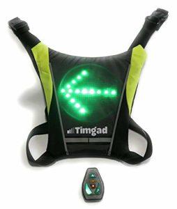 Timgad Gilet réfléchissant et Clignotant LED de sécurité très Lumineux pour Le vélo, Trottinette électrique, Deux Roues, Hoverboard, gyro-Roue, Jogging, Running, Roller, Skate, Course à Pied