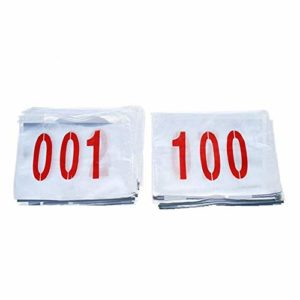 tingtin Numéro de Course Dossards Numéro en Polyester et Coton Marathon, Dossards De Course 001-100, Jamais Rétrécis, Ne Se Décolorant Pas, pour Athlète De Champ, 25 X 17cm