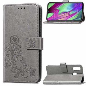 Tosim Coque Galaxy A40, Portefeuille Étui en Cuir Synthétique Fonction Stand Case Housse Folio à Rabat Compatible avec Samsung Galaxy A40 – TOSDA040218 Gris