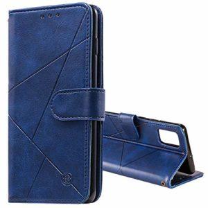 Tosim Coque Galaxy A71, Portefeuille Étui en Cuir Synthétique Fonction Stand Case Housse Folio à Rabat Compatible avec Samsung Galaxy A71 – TOHHA150463 Bleu