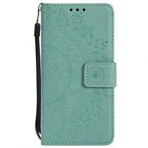 Tosim Coque LG K50 / LG Q60, Portefeuille Étui en Cuir Synthétique Fonction Stand Case Housse Folio à Rabat Compatible avec LG K50 / LG Q60 – TOHHA080518 Vert