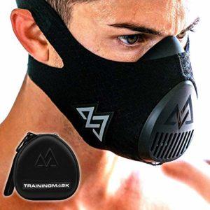 TRAININGMASK Masque d'entraînement 3.0 [Toutes Les Performances de Noir] pour Le Fitness, Masque d'entraînement, Course à Pied Masque, Masque de Respiration, résistance Masque (Black + Case, Small)