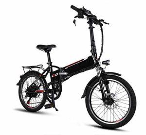 TX Vélo électrique Pliant Taille Mini Batterie Alliage d'aluminium 20 Pouces 20kg 48V Lithium Aviation 3 modèles, Entrée de Charge USB,Black
