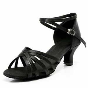 VASHCAME-Chaussures a Talons Hauts de Danse Latine Sandales pour Femme Noir 38 (Tacón-5cm)