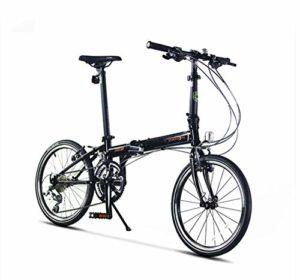 Vélo de Ville 20 Pouces 18 Vitesses Bicyclette Plier Frein en Alliage d'aluminium pour Adulte Unisexe VTT,Black
