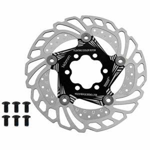 VGEBY1 Frein de vélo, Disque de Frein 140mm 6 boulons Patin de Disque de Frein Flottant Rotors Plaquette de Frein de vélo de Route de Montagne(Noir)