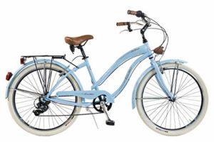 Via Veneto by Canellini – Bici Vélo Citybike Byciclette CTB Femme Dame Vintage Retro Via Veneto American Cruiser Aluminium (Bleu)