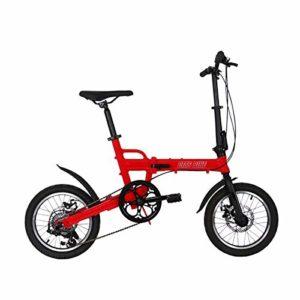 W&TT Vélo Pliant pour Adulte et garçon Ultralight en Alliage d'aluminium Cadre Ville Commuter Bicycle16 Pouces, Double Disque de Frein et d'importation Shimano 6 Vitesses,Red