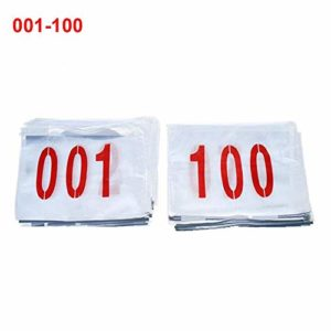 wapern Race Numbers Running Competitor Bibs Numbers, Set of 100, (from 1 to 100) 9.846.69in, Tearproof & Waterproof
