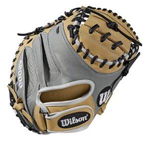 WILSON Sporting Goods 2019A2000Cm33Pedroia pour Mettre Catcher Gant de Baseball–Main Droite Couvre-lit Blond/Blanc/Gris SuperSkin, 83,8cm