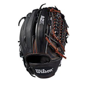 Wilson Sporting Goods 2019A2K D33Pichet de Gant de Baseball–Main Droite Couvre-lit Noir/cuivre/Noir SuperSkin, 29,8cm